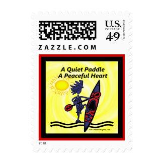 Kayak las ondas reservadas de una paleta sello