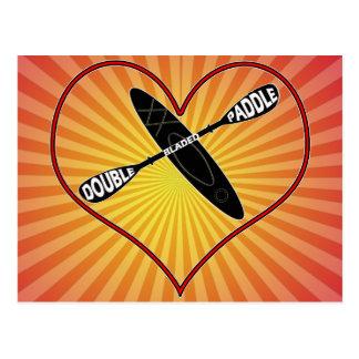 KAYAK LOGO LOVE HEART DOUBLE BLADED POSTCARD