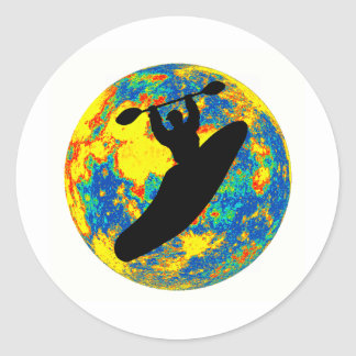 Kayak moon time classic round sticker