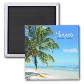 Kayak on a white sand beach square text magnet