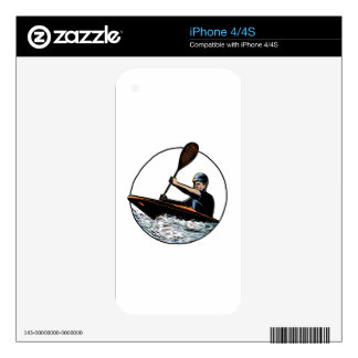 Kayak Paddler Canoe Scratchboard iPhone 4S Skins