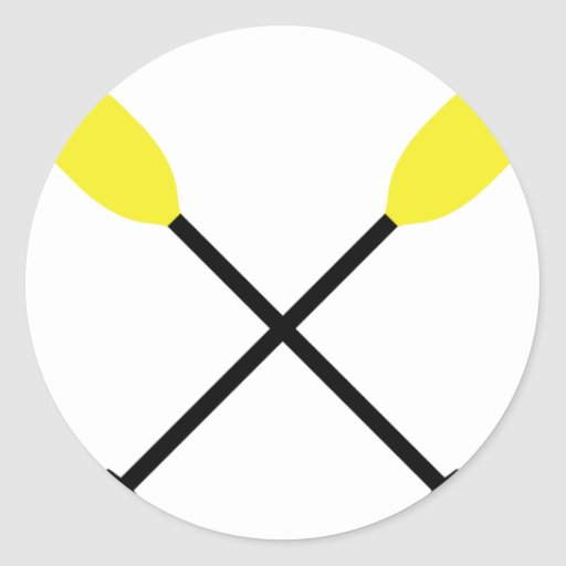 kayak paddles crossed round sticker