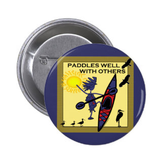 Kayak Paddles Well on Yellow 2 Inch Round Button
