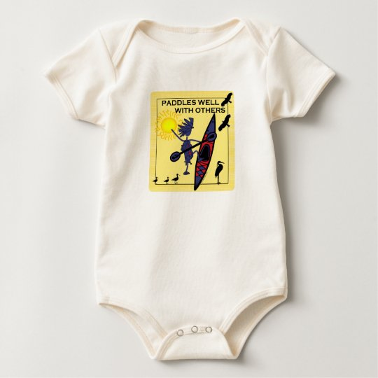 Kayak Paddles Well on Yellow Baby Bodysuit