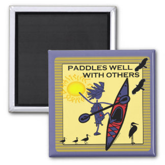 Kayak Paddles Well on Yellow Magnet