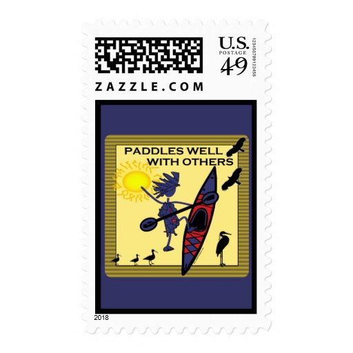 Kayak Paddles Well on Yellow Postage Stamps