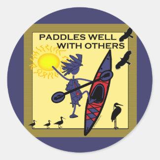 Kayak Paddles Well on Yellow Round Stickers
