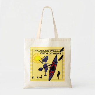 Kayak Paddles Well on Yellow Tote Bags