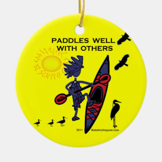 Kayak Paddles Well With Others II Ceramic Ornament