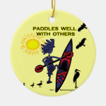Kayak Paddles Well With Others II Double-Sided Ceramic Round Christmas Ornament