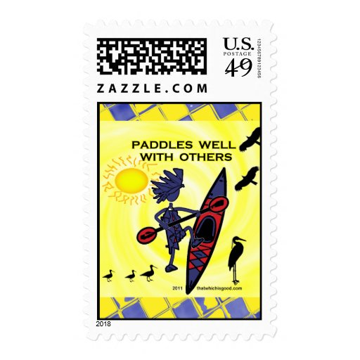 Kayak Paddles Well With Others II Postage Stamps
