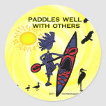 Kayak Paddles Well With Others II Round Stickers