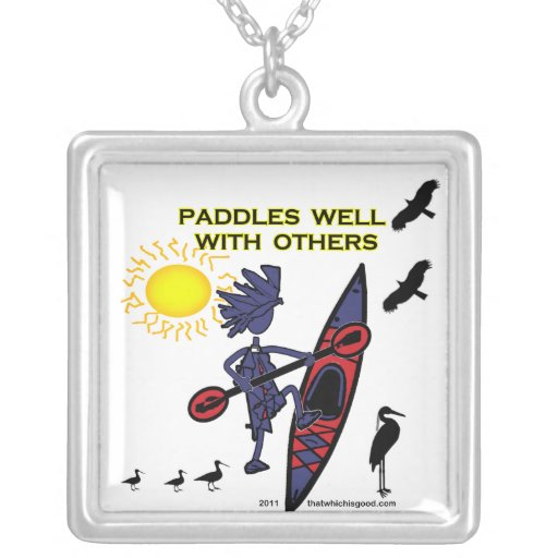 Kayak Paddles Well With Others II Square Pendant Necklace