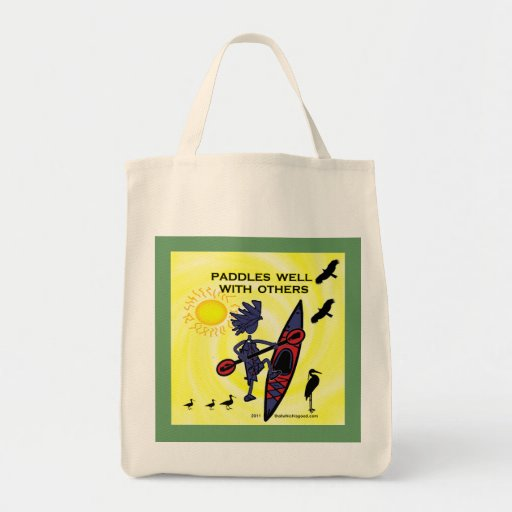 Kayak Paddles Well With Others II Tote Bags
