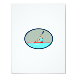 Kayak Racing Canoe Sprint Oval Retro Card