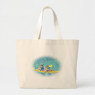 Kayak River Scene in Pointillism, canvas bags