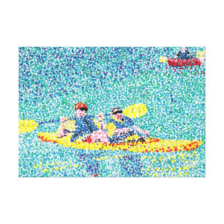 Kayak River Scene in Pointillism, Wrapped Canvas Canvas Print