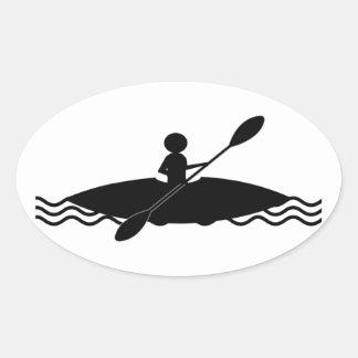 Kayak Stick Man Logo Oval Sticker