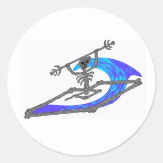 Kayak Wavey Bones Classic Round Sticker
