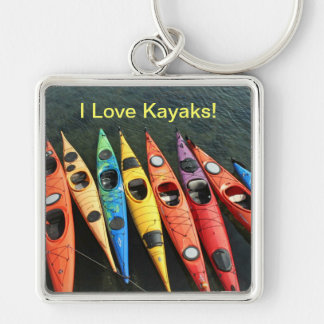 Kayak World Silver-Colored Square Keychain
