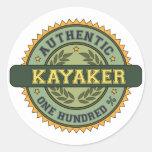 Kayaker auténtico etiquetas redondas