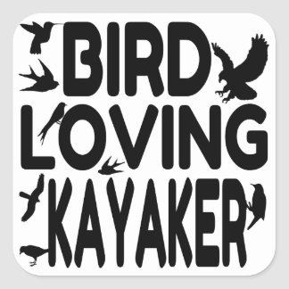Kayaker cariñoso del pájaro calcomania cuadradas personalizada