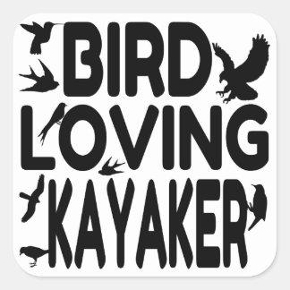 Kayaker cariñoso del pájaro pegatina cuadrada
