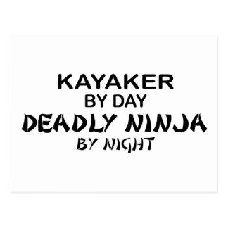 Kayaker Deadly Ninja by Night Postcard