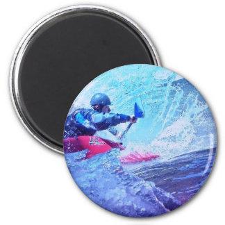 Kayaker del agua blanca imán de nevera