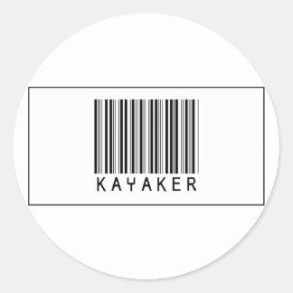 Kayaker del código de barras etiqueta redonda