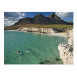 Kayaker del mar en el golfo de California en Isla Tarjetas Postales