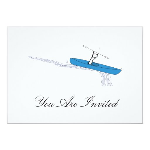 Kayaker en el agua invitación 12,7 x 17,8 cm