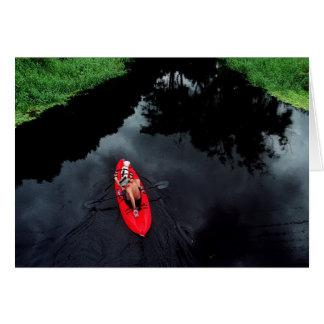 Kayaker en el río de Loxahatchee Tarjeton