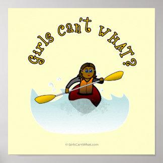 Kayaker femenino oscuro póster