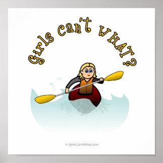 Kayaker femenino rubio póster