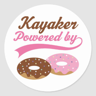 Kayaker Funny Gift Round Stickers