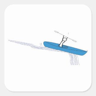 Kayaker Calcomanías Cuadradas Personalizadas