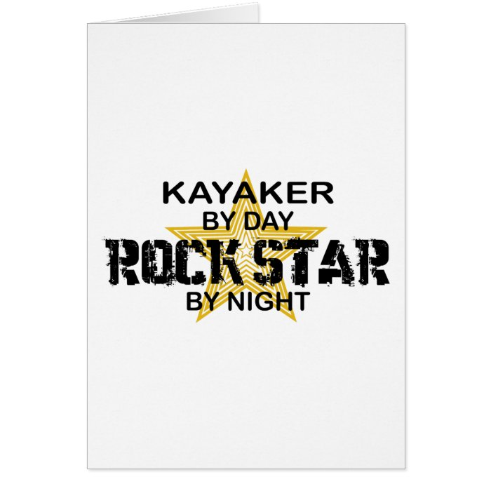 Kayaker Rock Star by Night Card