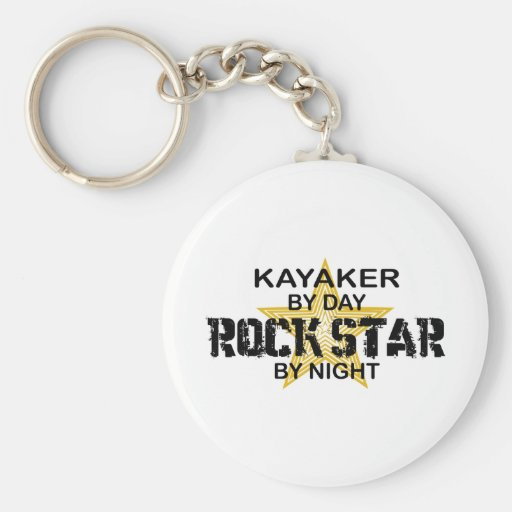 Kayaker Rock Star by Night Key Chain
