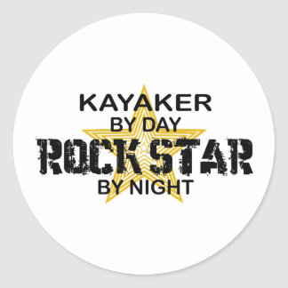 Kayaker Rock Star by Night Classic Round Sticker