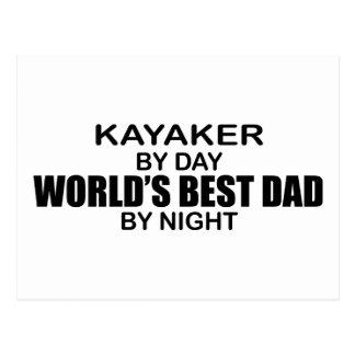 Kayaker World's Best Dad by Night Postcard
