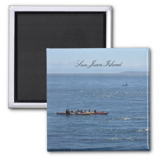 Kayakers and Orca 2 Inch Square Magnet