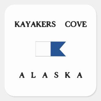 Kayakers Cove Alaska Alpha Dive Flag Square Sticker