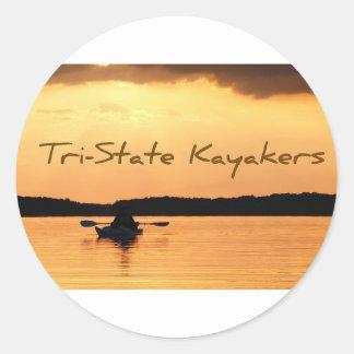 Kayakers de triple estado pegatina redonda