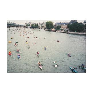 Kayakers on the Seine, Paris Canvas Print