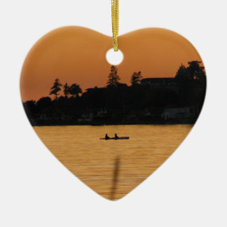 Kayakers Double-Sided Heart Ceramic Christmas Ornament