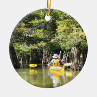 Kayaking Among Trees Ceramic Ornament