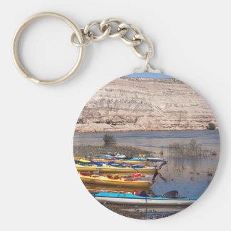 Kayaking Basic Round Button Keychain