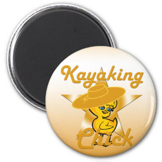 Kayaking Chick #10 2 Inch Round Magnet