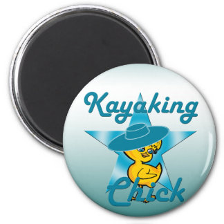 Kayaking Chick #7 2 Inch Round Magnet